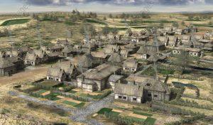 Village celte de Bibracte sur le Mont Beuvray, vers 50 ap. J.-C. / Illustration 3D (AKG5167812)