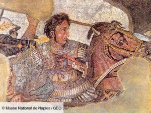 Détail d'une mosaïque représentant Alexandre le Grand et son cheval Bucephale © Musée National de Naples